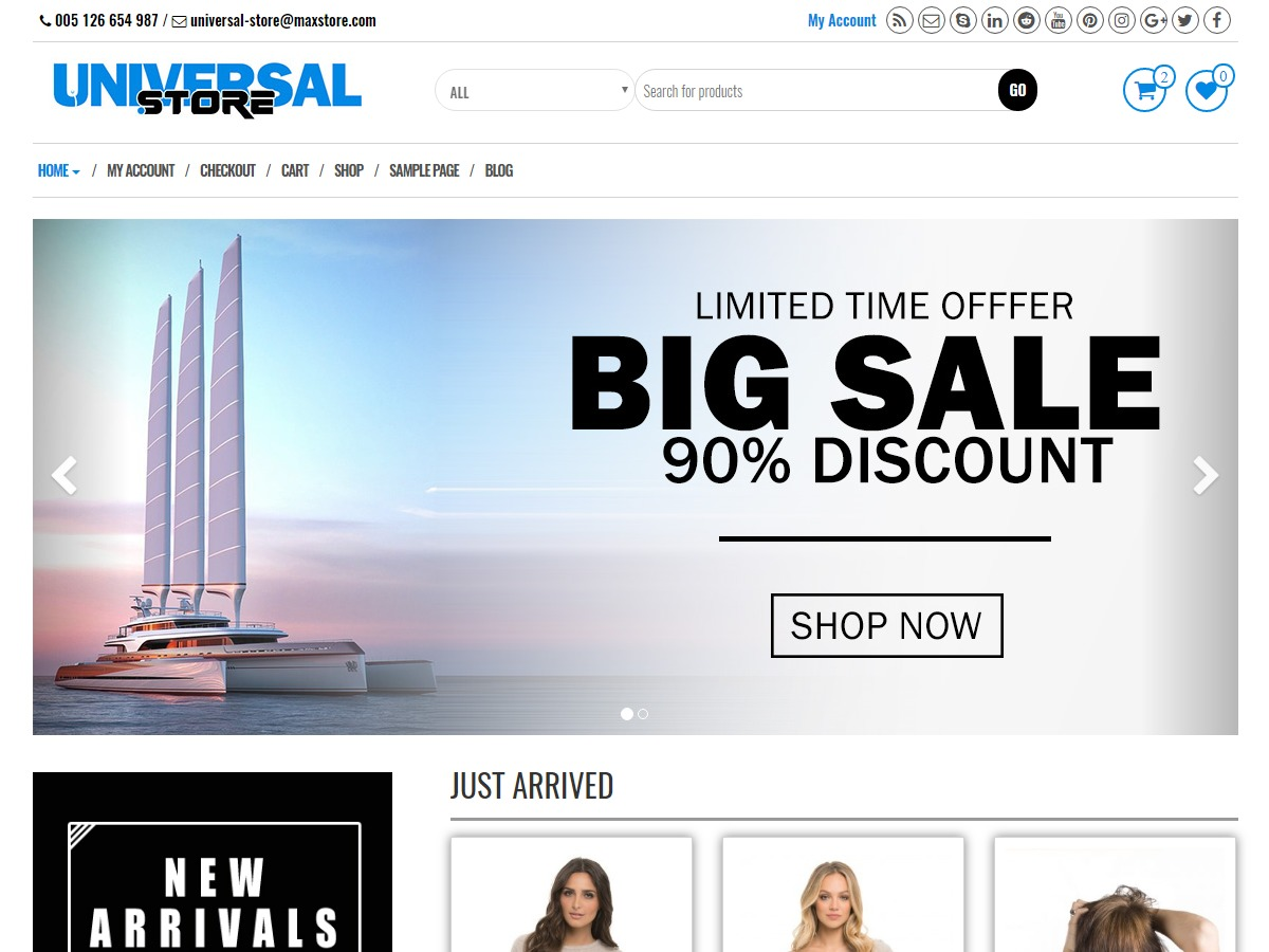 Universal Store best free WordPress theme