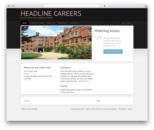 Agency Child Theme WordPress page template - headlinecareers.co.uk