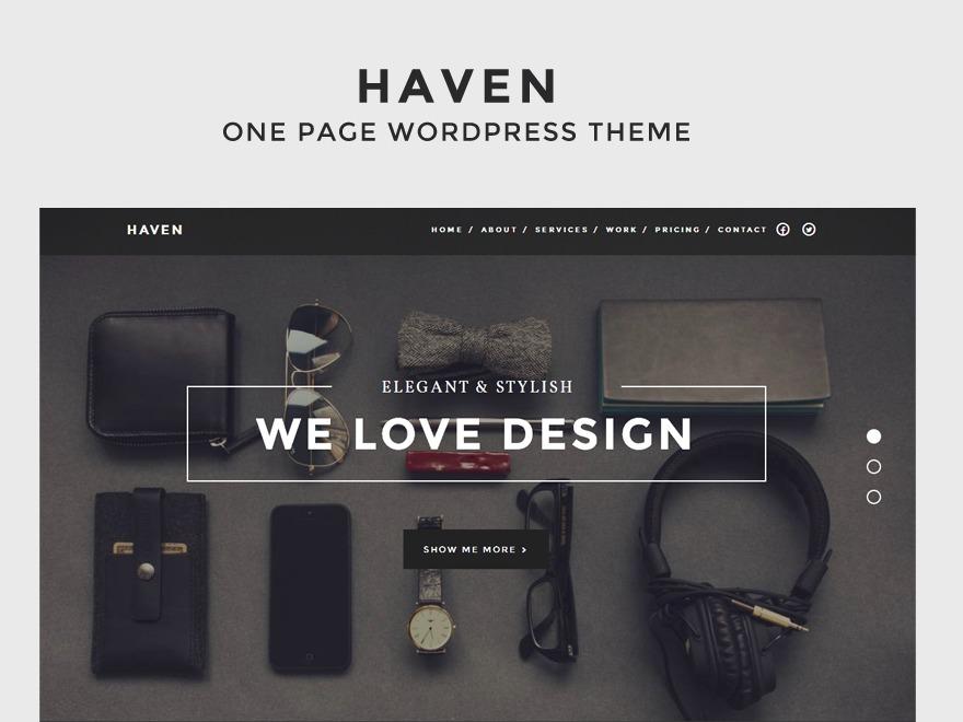 Haven (Share on Theme123.Net) personal WordPress theme