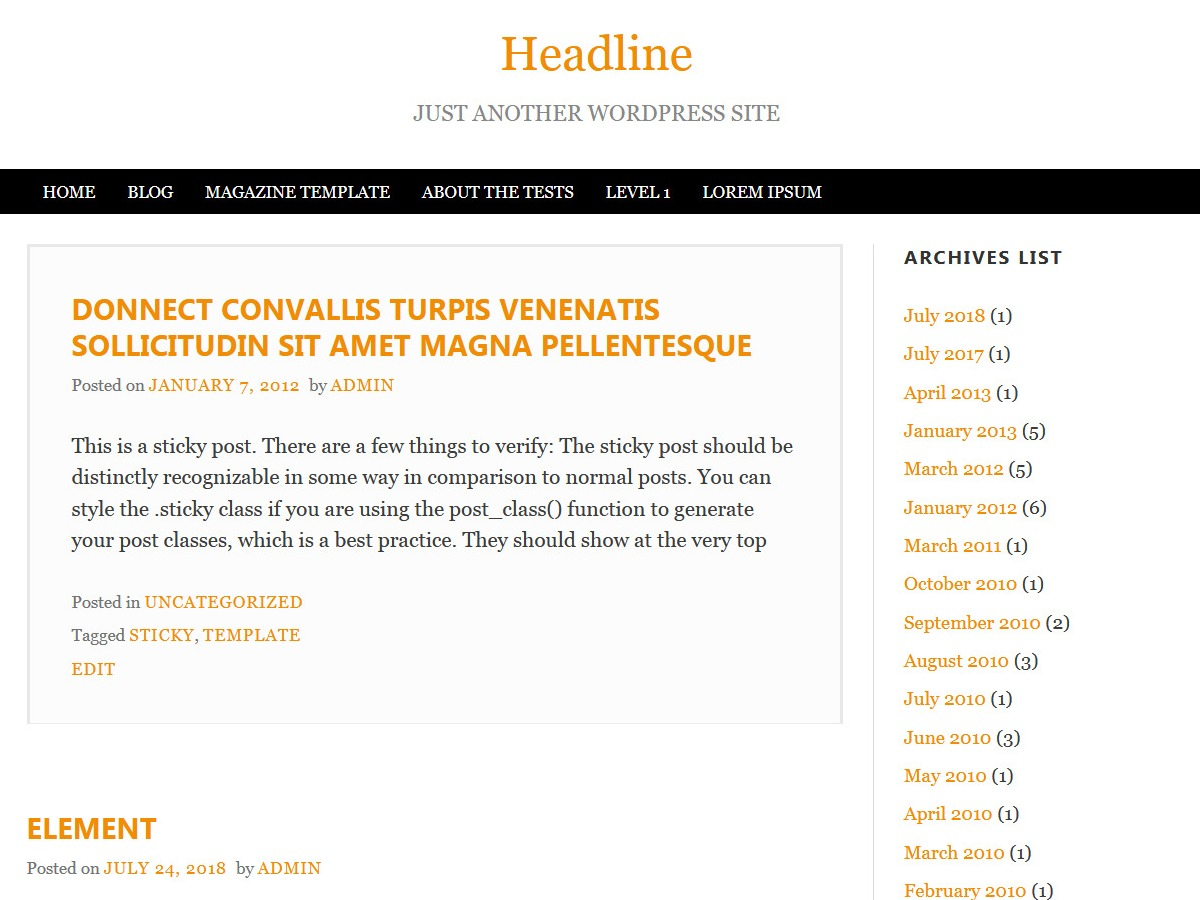 Headline theme WordPress