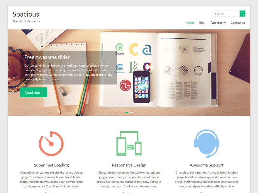 Spacious WordPress portfolio template