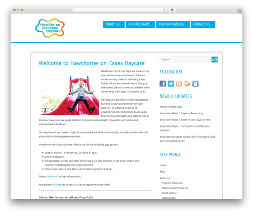 Cell free WordPress theme - hawthornedaycare.ca