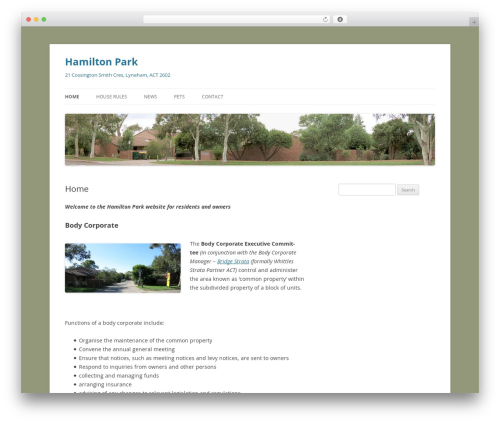 Twenty Twelve top WordPress theme - hamiltonpark.com.au