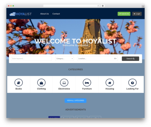 Classiera WordPress website template - hoyalist.com