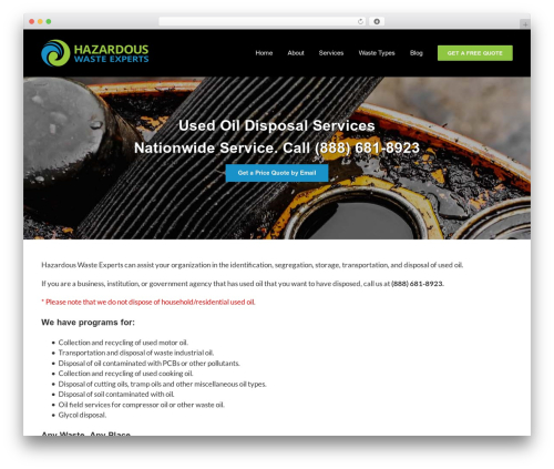 Avada best WordPress template - hazardouswasteexperts.com/used-oil-collection