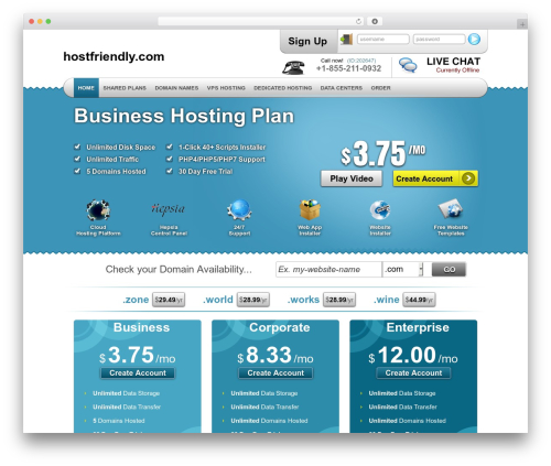 Simply Elegant WordPress theme - hostfriendly.com
