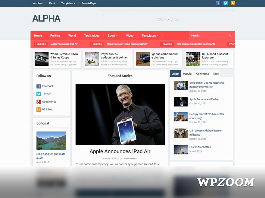 Alpha Theme Child WordPress theme design