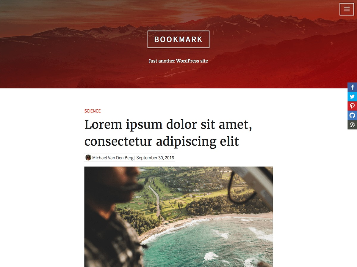 Bookmark WordPress blog theme
