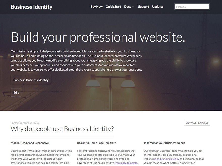 Business Identity company WordPress theme