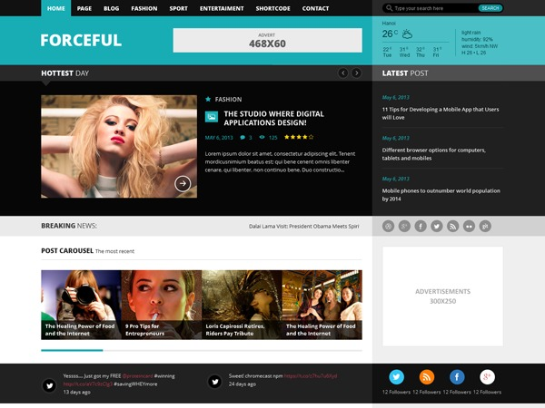 Forceful (Share on Theme123.Net) WordPress news template