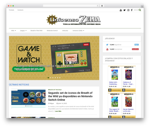 MagOne WordPress website template - universozelda.com