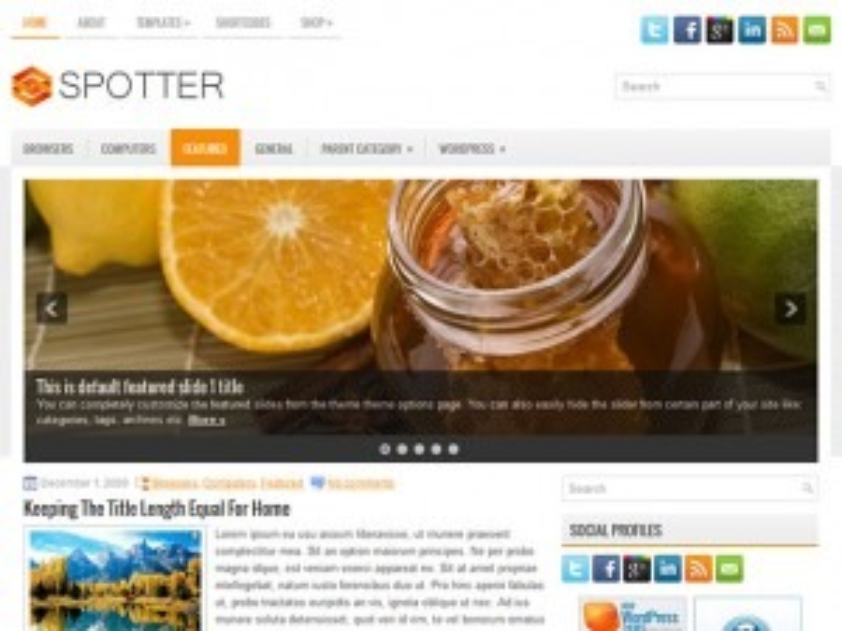 Spotter WordPress blog theme