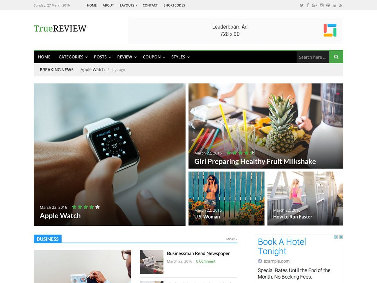 TrueReview WordPress magazine theme