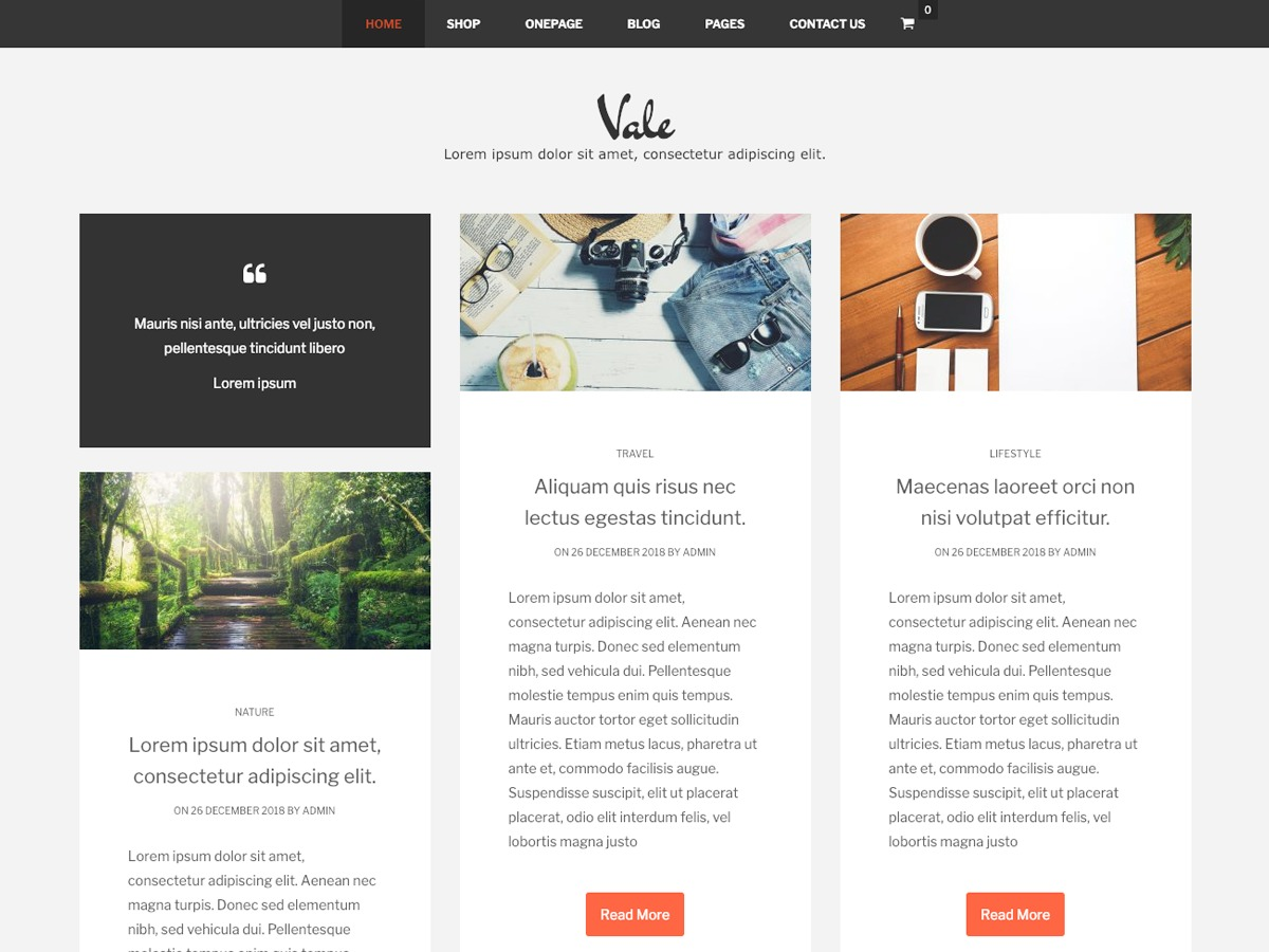 Vale WordPress store theme