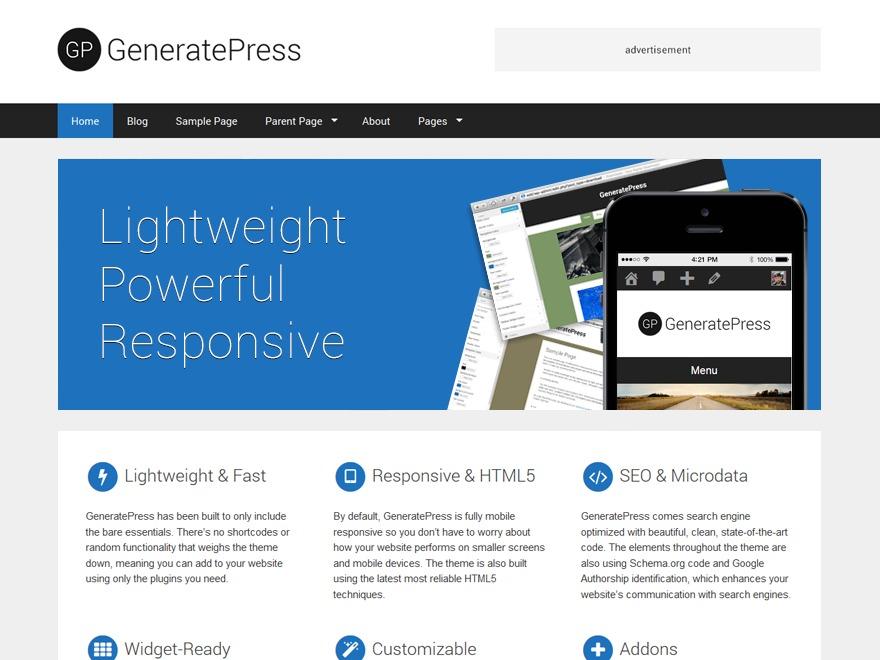 WordPress website template GeneratePress
