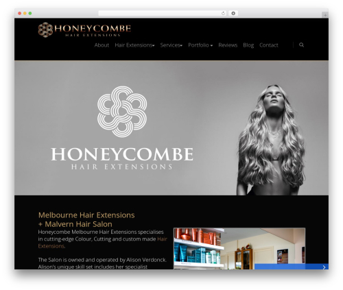 Honeycombe WordPress website template - honeycombehairextensions.com.au