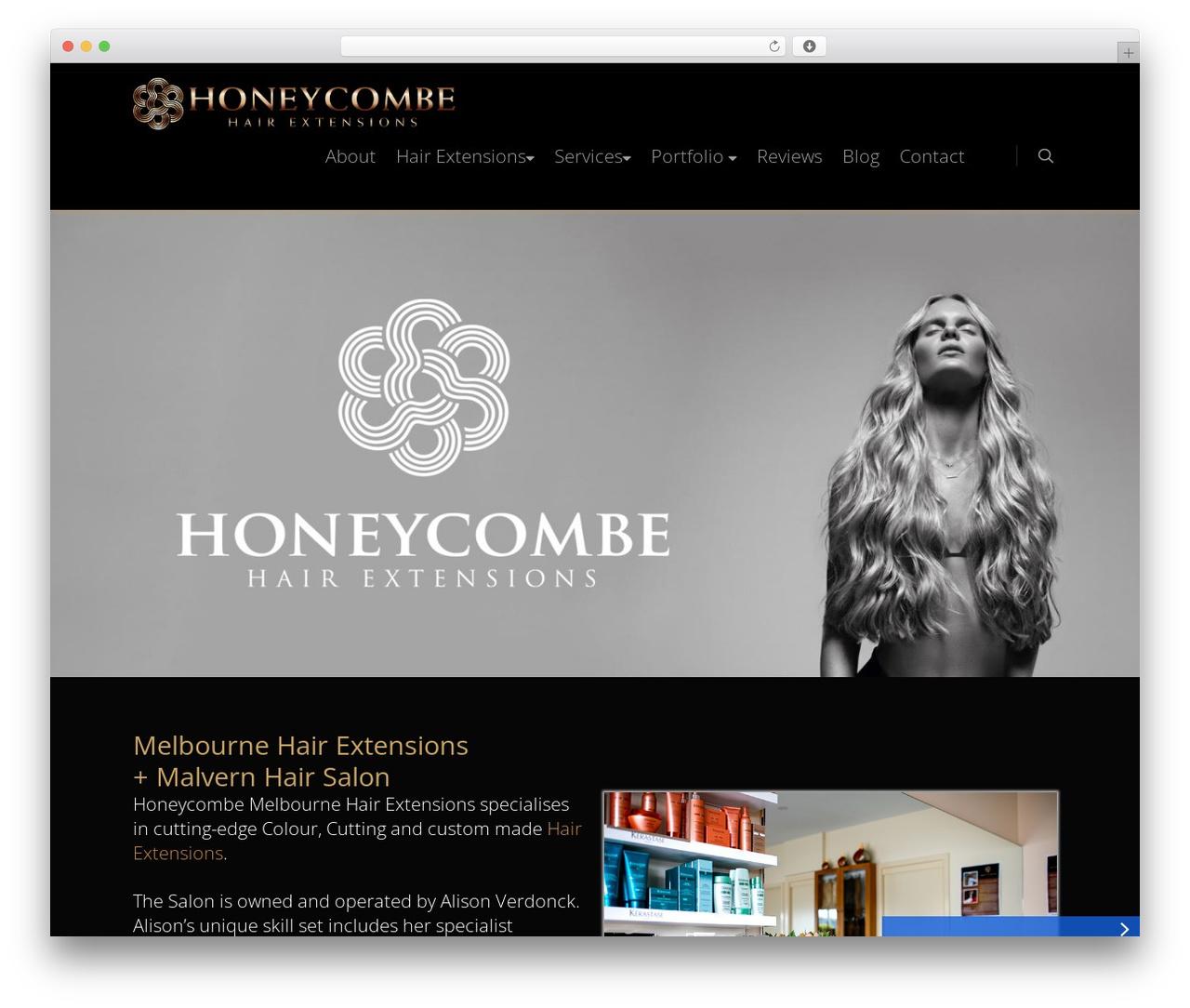 Honeycombe WordPress website template - honeycombehairextensions.com.au