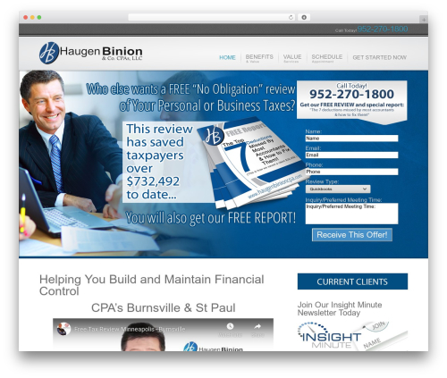 Inspire WordPress website template - haugenbinioncpa.com
