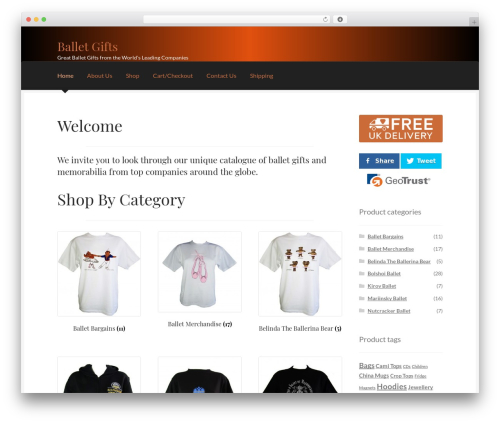Storefront WordPress website template - balletgifts.co.uk