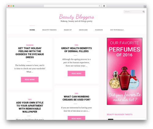 Elegant Pink WordPress blog template - beautybloggers.org