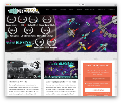 Webblog WordPress gaming theme - bareknuckledev.com