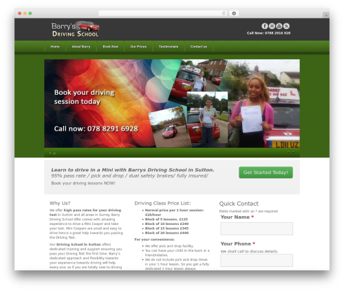 Akita WordPress theme - barrysdrivingschool.com