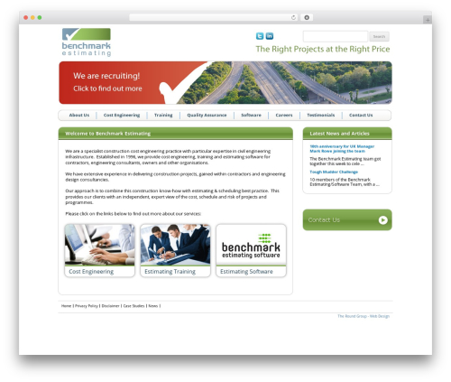 Best WordPress template Benchmark - benchmarkestimating.co.uk