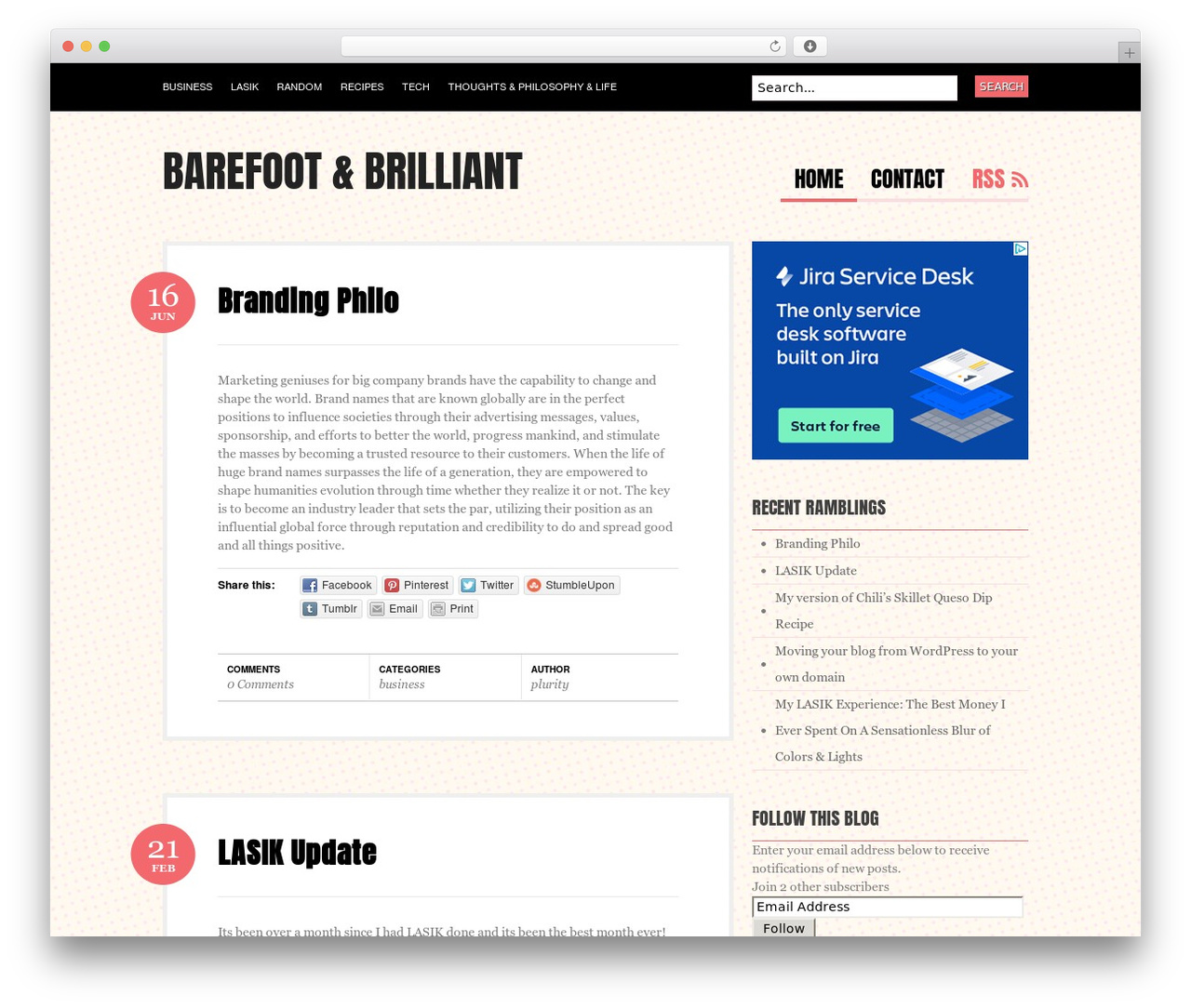 Best WordPress template Bueno - barefootandbrilliant.com