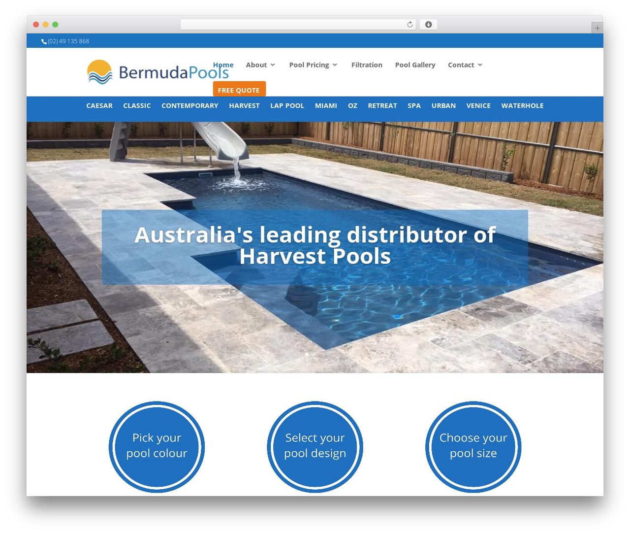 Divi WordPress website template - bermudapools.com.au
