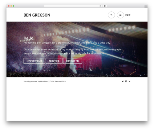 Edin free WordPress theme - bengregson.com