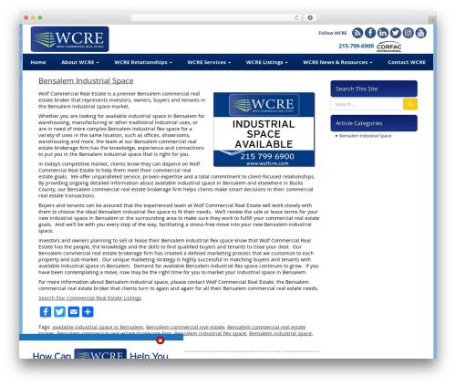 VLM real estate template WordPress - bensalemindustrialspace.com