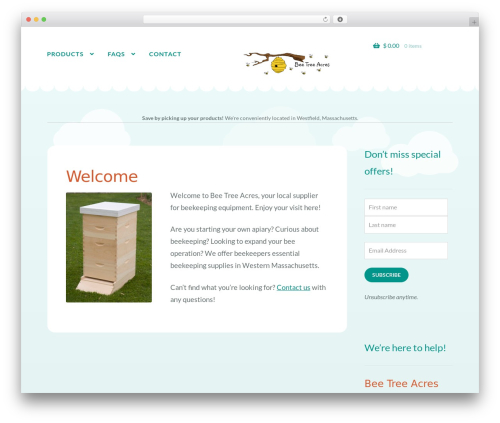 WordPress theme Storefront - beetreeacres.com