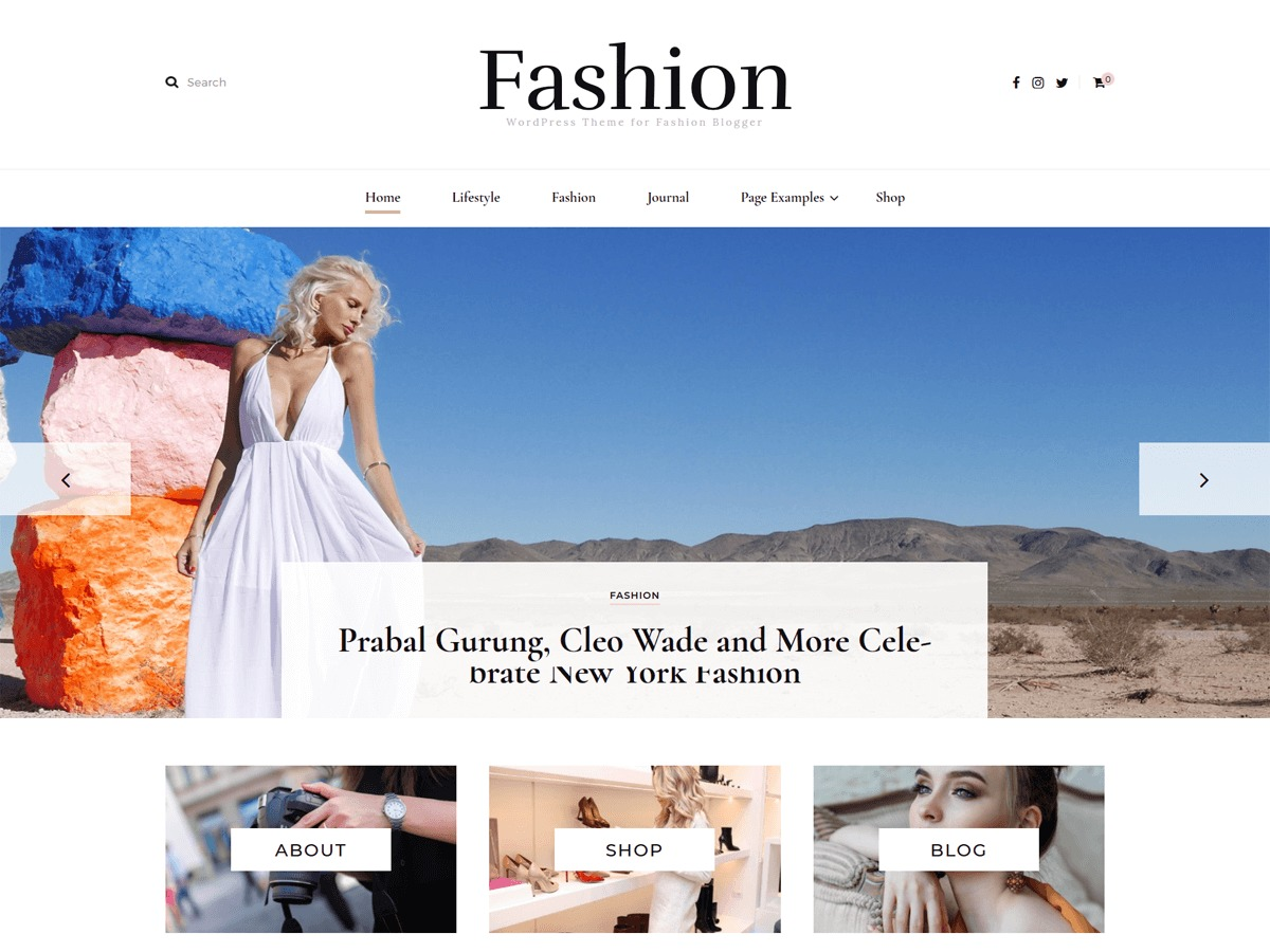 Blossom Fashion Child personal blog WordPress theme