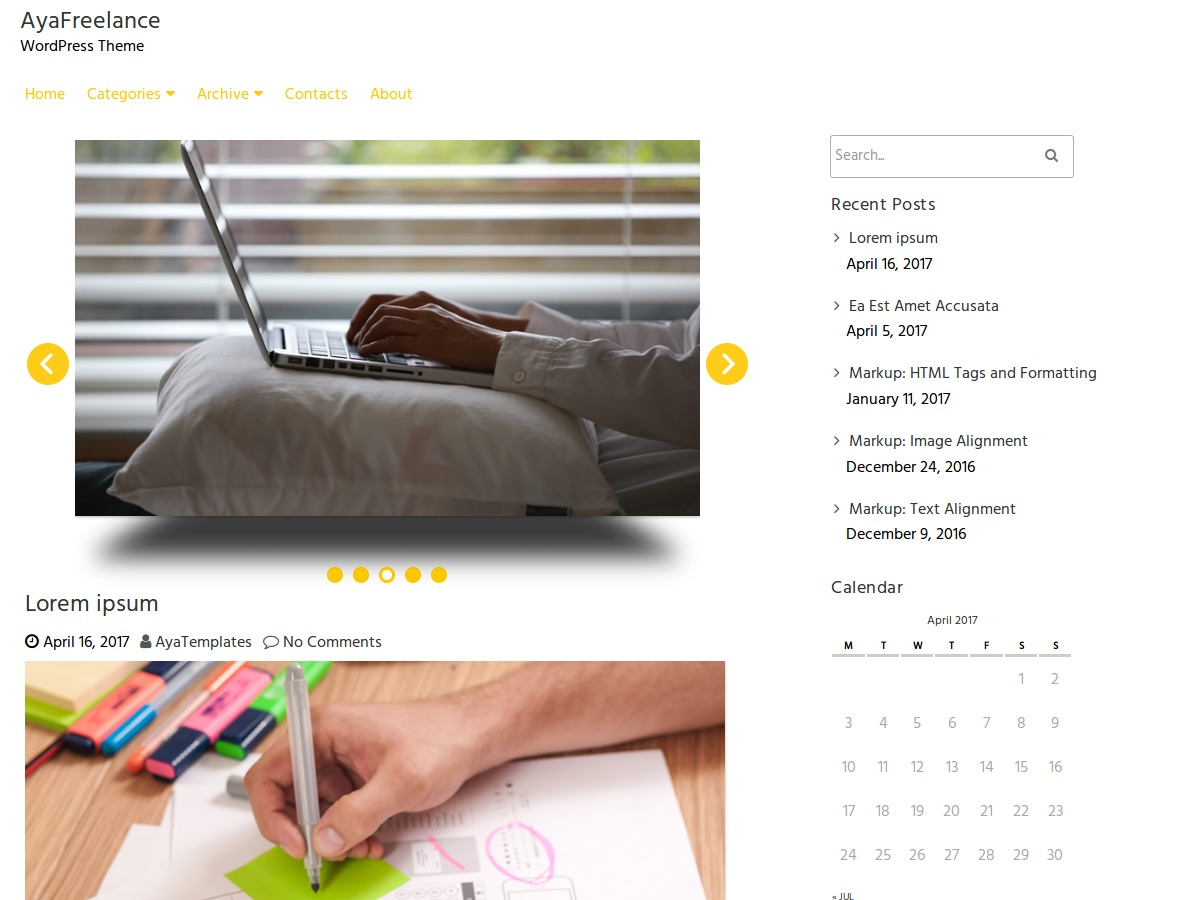 AyaFreelance template WordPress free