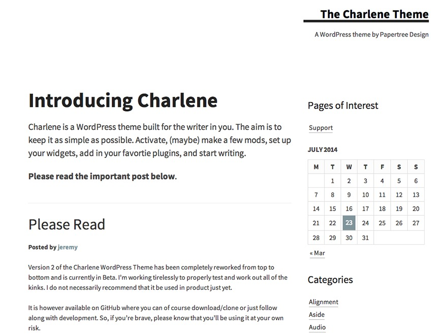 Charlene WordPress website template