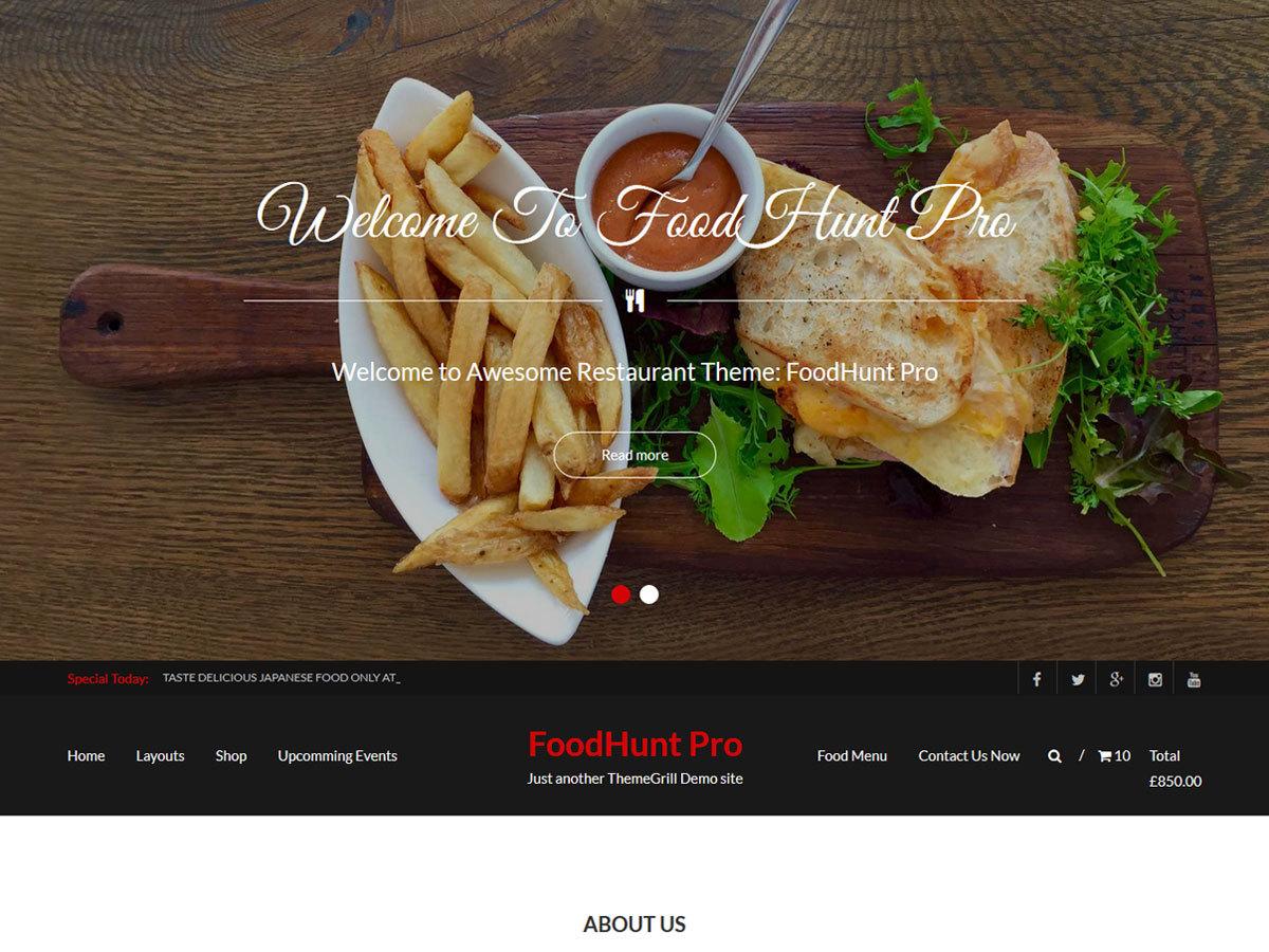 FoodHunt Pro WordPress restaurant theme