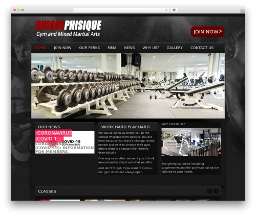 Gym Extreme Theme WordPress page template - uniquephysiquegym.co.uk