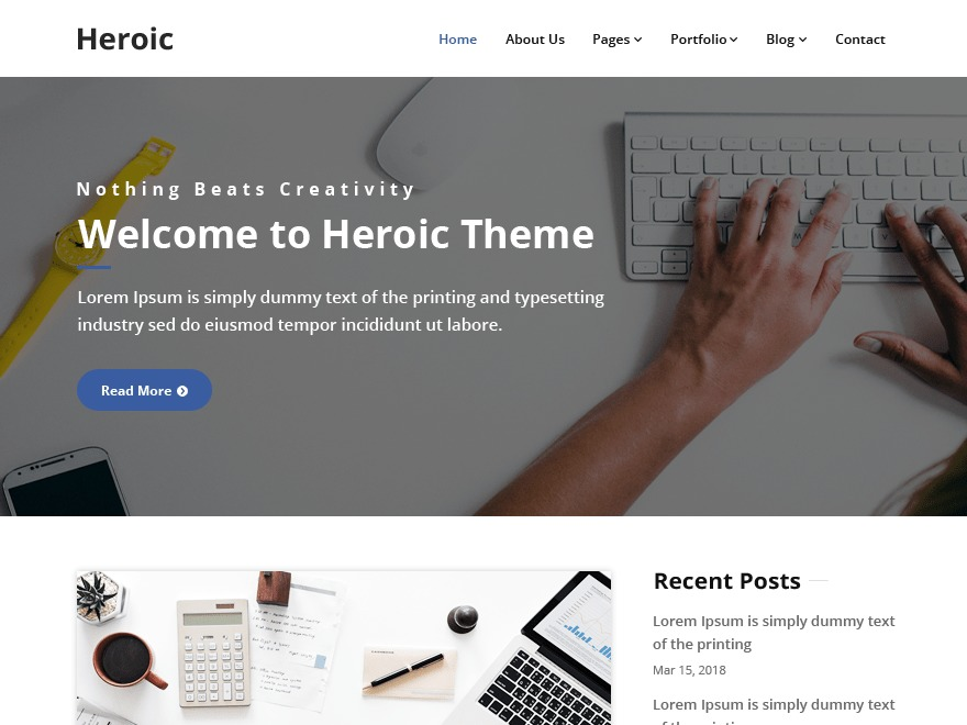 Heroic WordPress portfolio theme