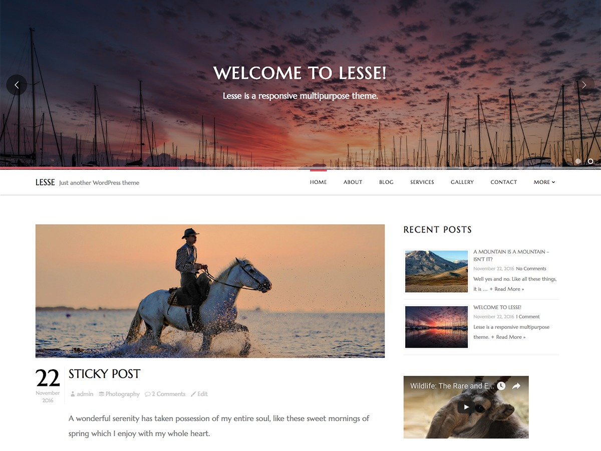 Lesse Lite theme WordPress free