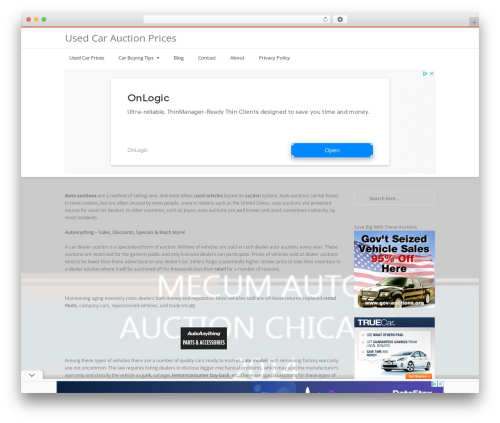 Nimva best WordPress theme - usedcarauctionprices.com