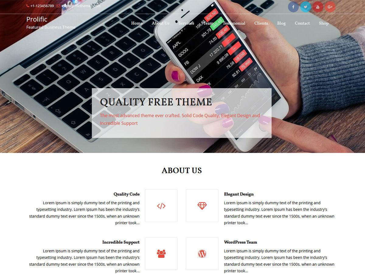 Prolific WordPress portfolio template