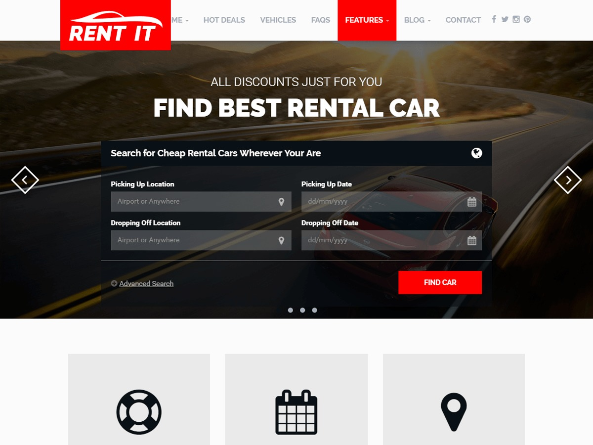 RentIt car rental WordPress theme