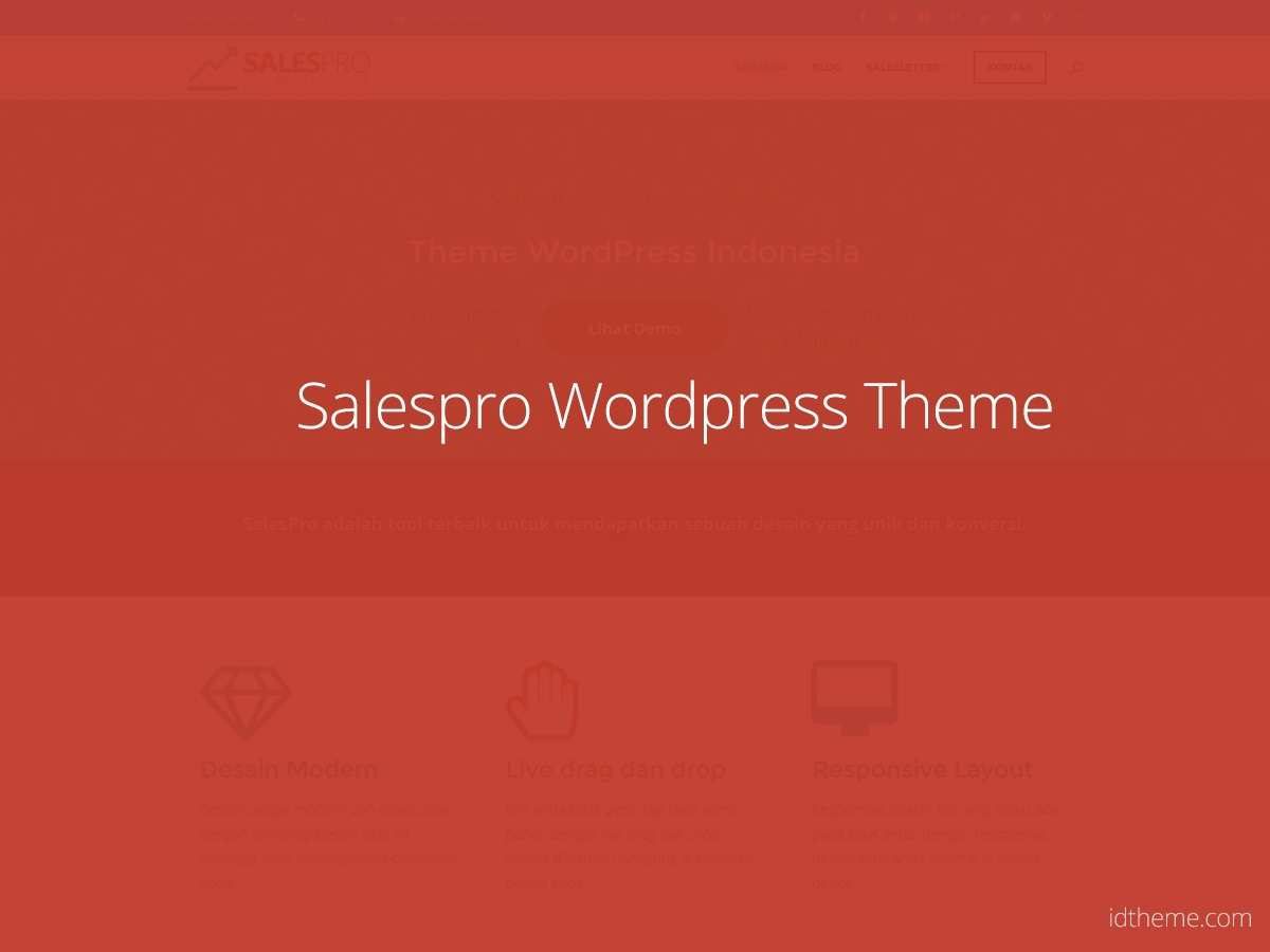 Salespro WordPress theme design