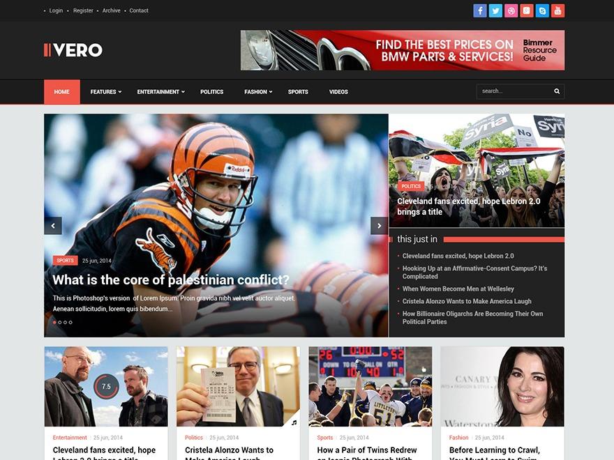Vero WordPress magazine theme