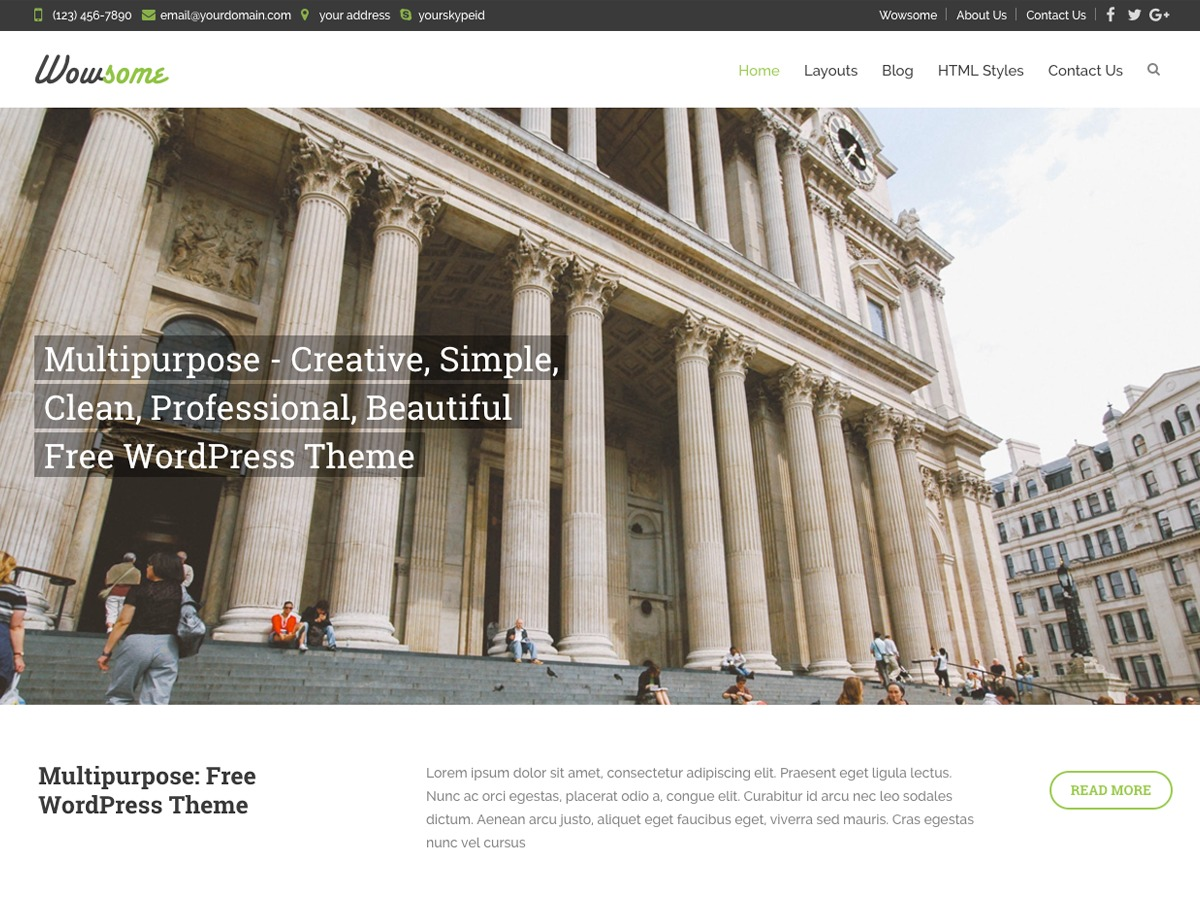 Wowsome WordPress template free