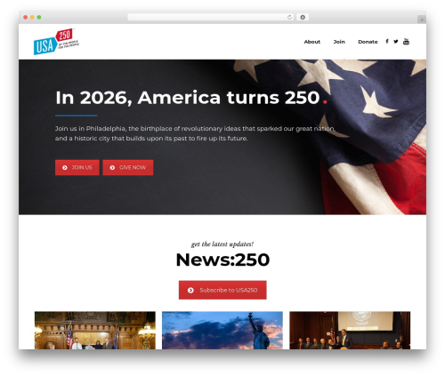 WP template Evently - usa250.org