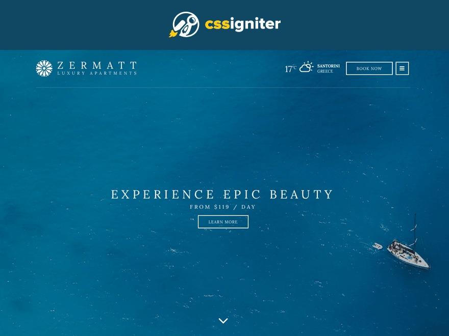 Zermatt WordPress hotel theme