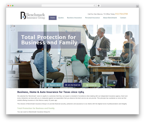 Benchmark company WordPress theme - benchmark-ins.com