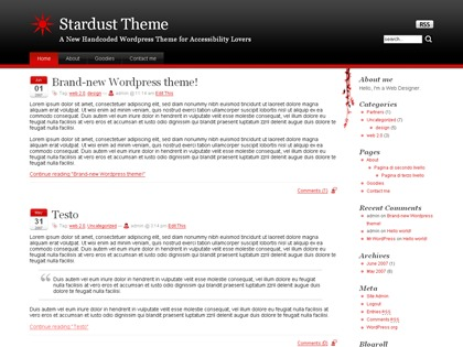 Stardust WordPress page template