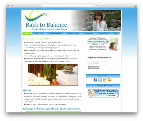 Catalyst massage WordPress theme - backtobalancestresscoaching.com